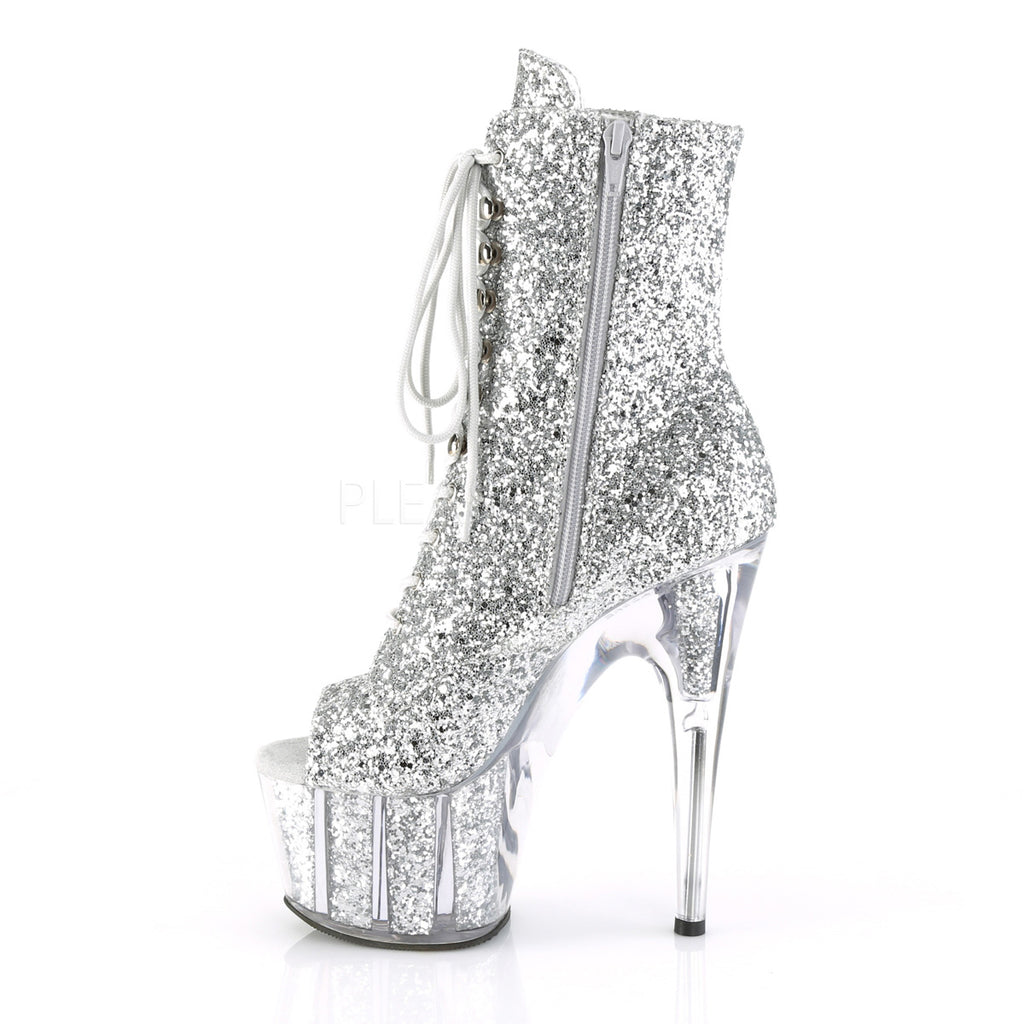 "Adore 1021G  Silver Glitter Open Toe Lace Up Ankle Boot - 7"" High Heels"