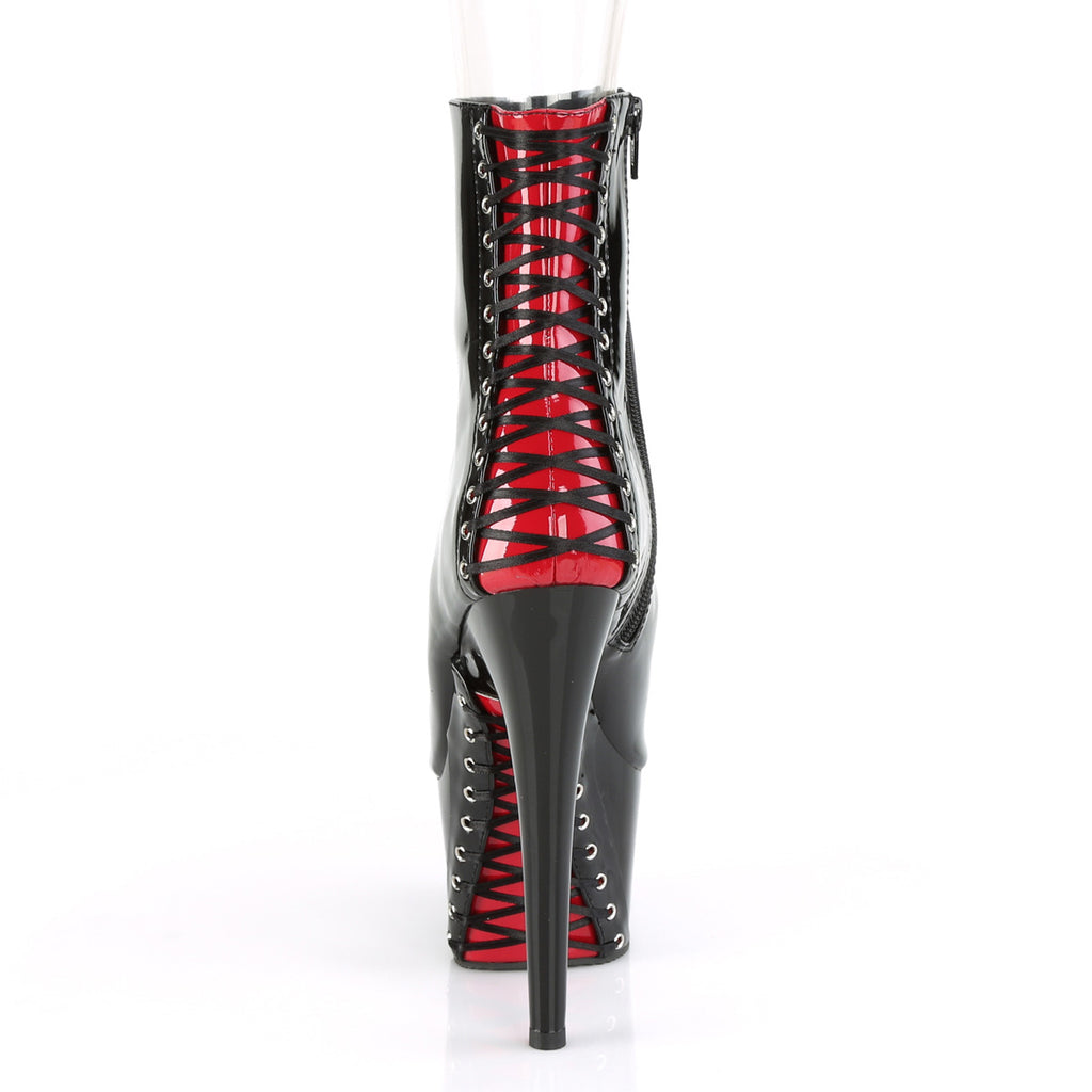 "Adore 1025 Black Patent Red Corset Lace Ankle Boot - 6"" High Heels"