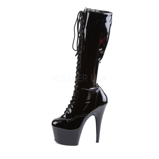 "Delight 2023 Black Patent Front Lace Up Knee Boot 6"" Platform Heel - Totally Wicked Footwear"