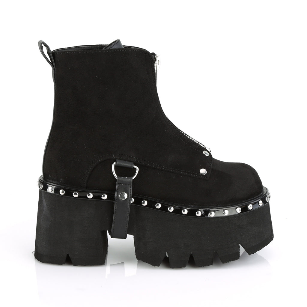 Demonia Cramps 04 high peep toe ankle boots with buckles and