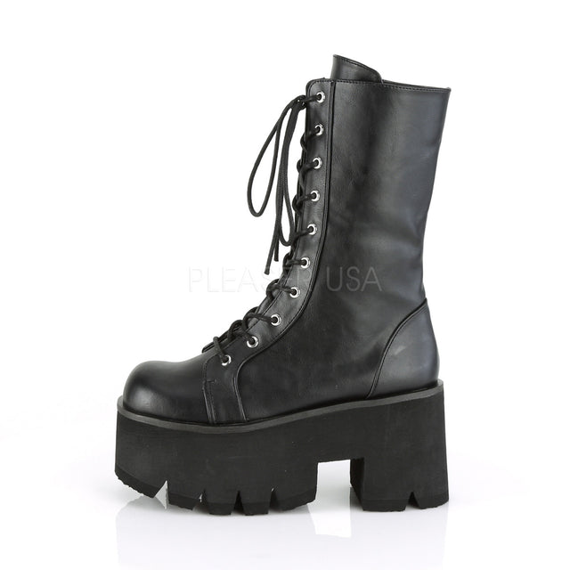 "Ashes 105 Platform Lace Up Mid-Calf Boot 3.5"" Chunky High Heel 6-12"