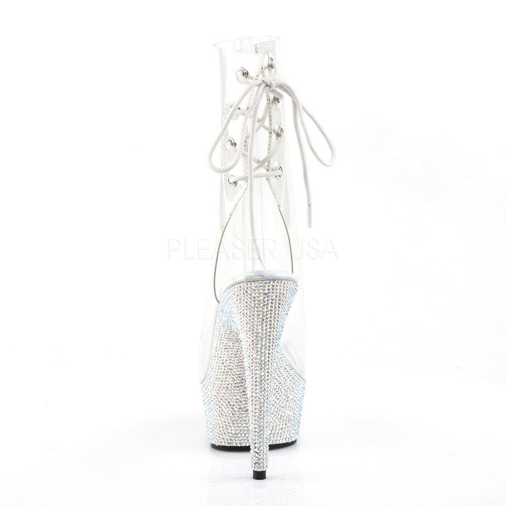 Bejeweled 1018DM-6 Clear Peep Toe Ankle Boots Rhinestone Platform - Totally Wicked Footwear