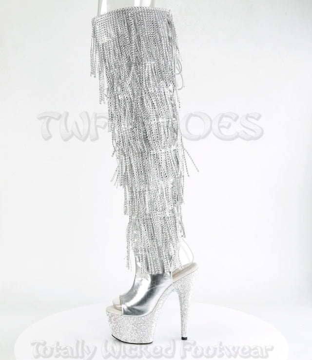 Bejeweled 3019 RS Chrome Fringe Thigh Boots Silver