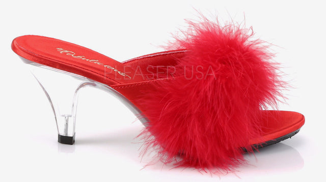 "Belle 301F 3"" Heel Marabou Slide Sandal 6 - 16 Red"