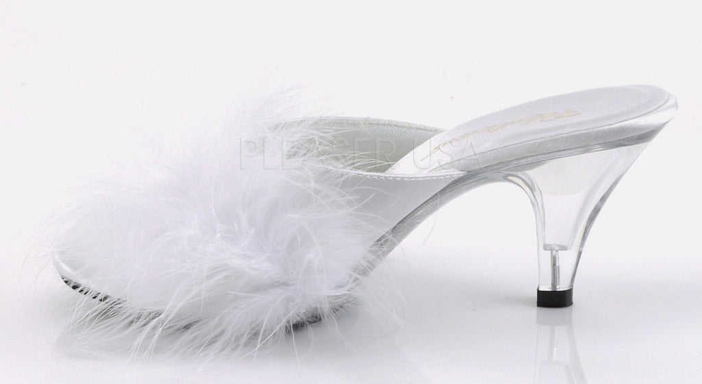 "Belle 301F 3"" Heel Marabou Slide Sandal 6 - 16 White - Totally Wicked Footwear"