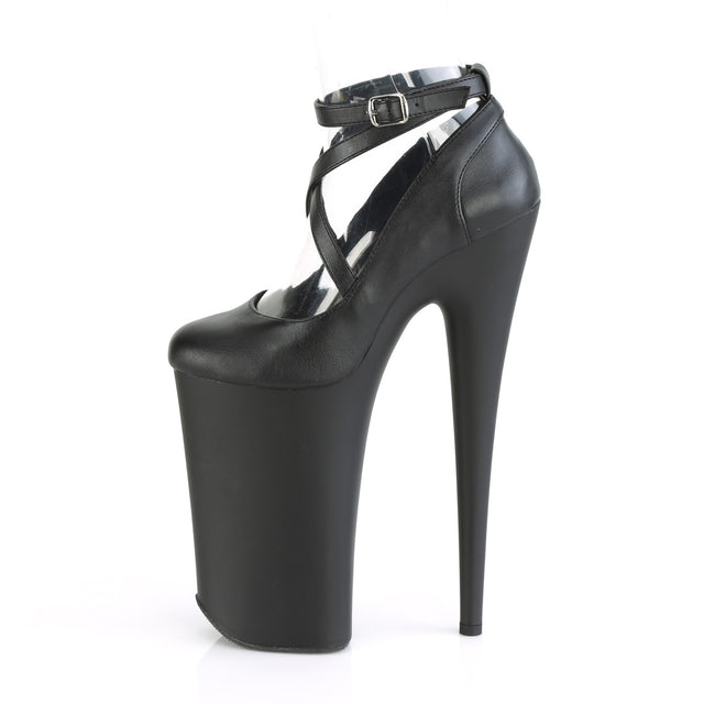 "Beyond 087 Black Matte 10"" Heel Cross Strap Pumps Shoes"