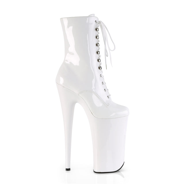"Beyond 1020 White Patent 10"" Heel Platform Ankle Boots"