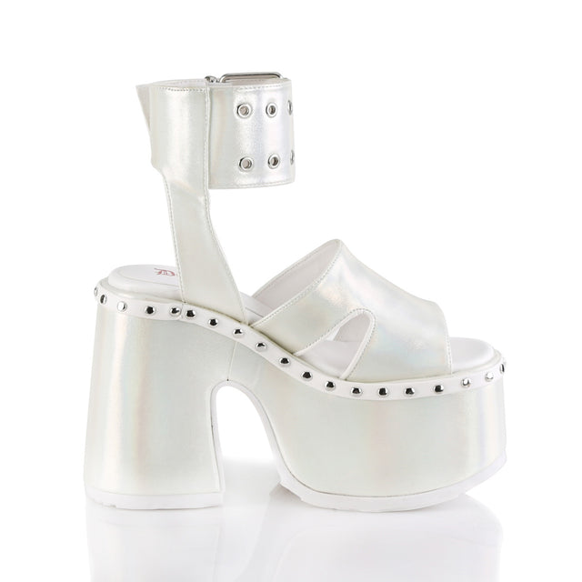 "Camel 102 Wide Cuff  5"" Chunky Platform Block Heel Sandals - White Pearl"