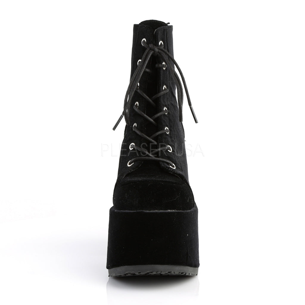 Camel 203 Black Velvet Lace Up Goth Platform Ankle Boot