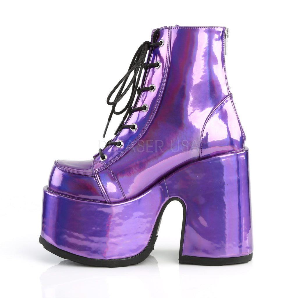 Camel 203 Purple Hologram Lace Up Goth Platform Ankle Boot