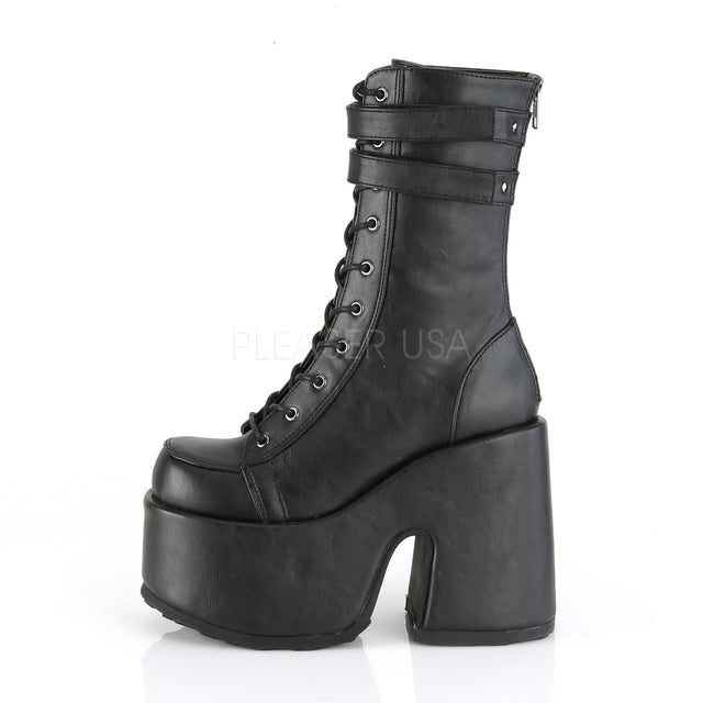 Camel 250 Black Matte Lace Up Goth Platform Boot 6-12