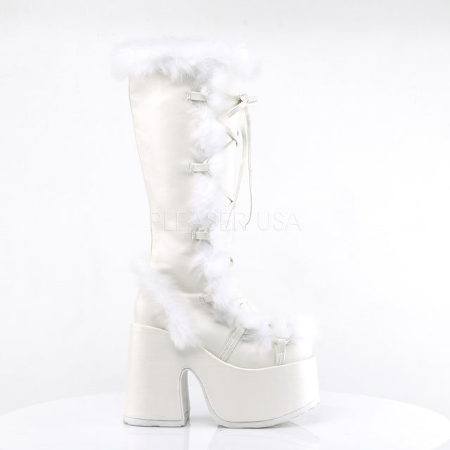 "Camel 311 White Furry Lace Up Goth Platform Chunky 5"" Heel Knee Boot"