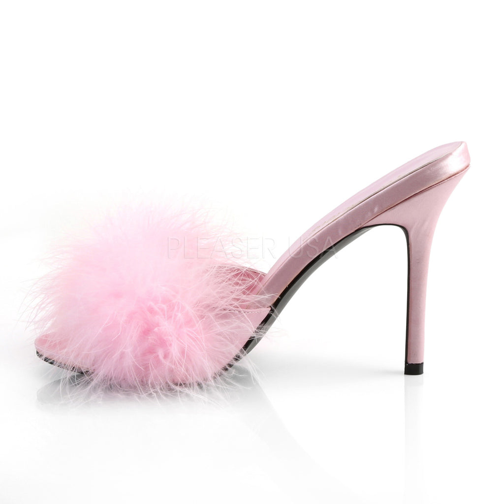 "Classique 01F Pink Marabou Slipper 4"" Stiletto Heel Shoe 6 - 16"