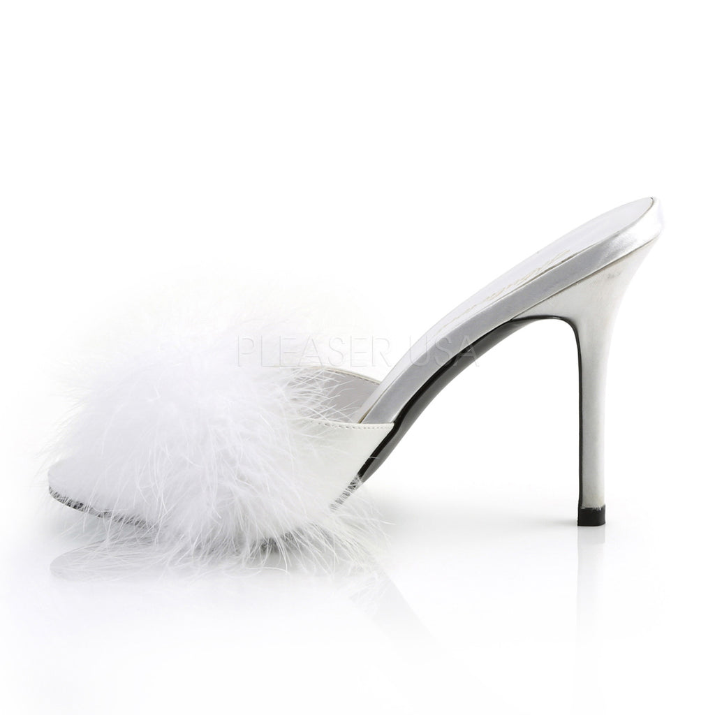"Classique 01F White Marabou Slipper 4"" Stiletto Heel Shoe 6 - 16"