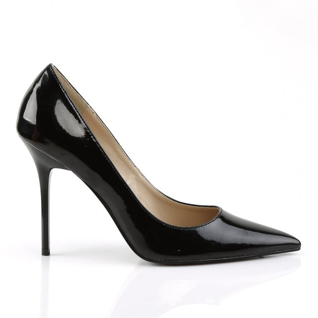"Classique 20 Black Patent Pointy Toe 4"" Stiletto Heel Pump 6 - 16 Queen - Totally Wicked Footwear"