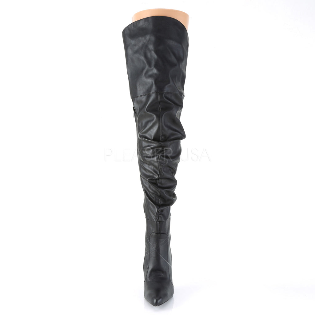 "Classique 3011 Over Knee Scrunch Boots Black 4"" Stiletto Heel 6 - 16"