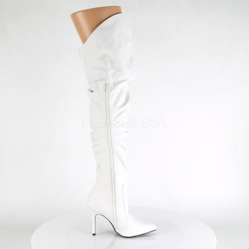 "Classique 3011 Over Knee Scrunch Boots White 4"" Stiletto Heel 6 - 16 Queen"