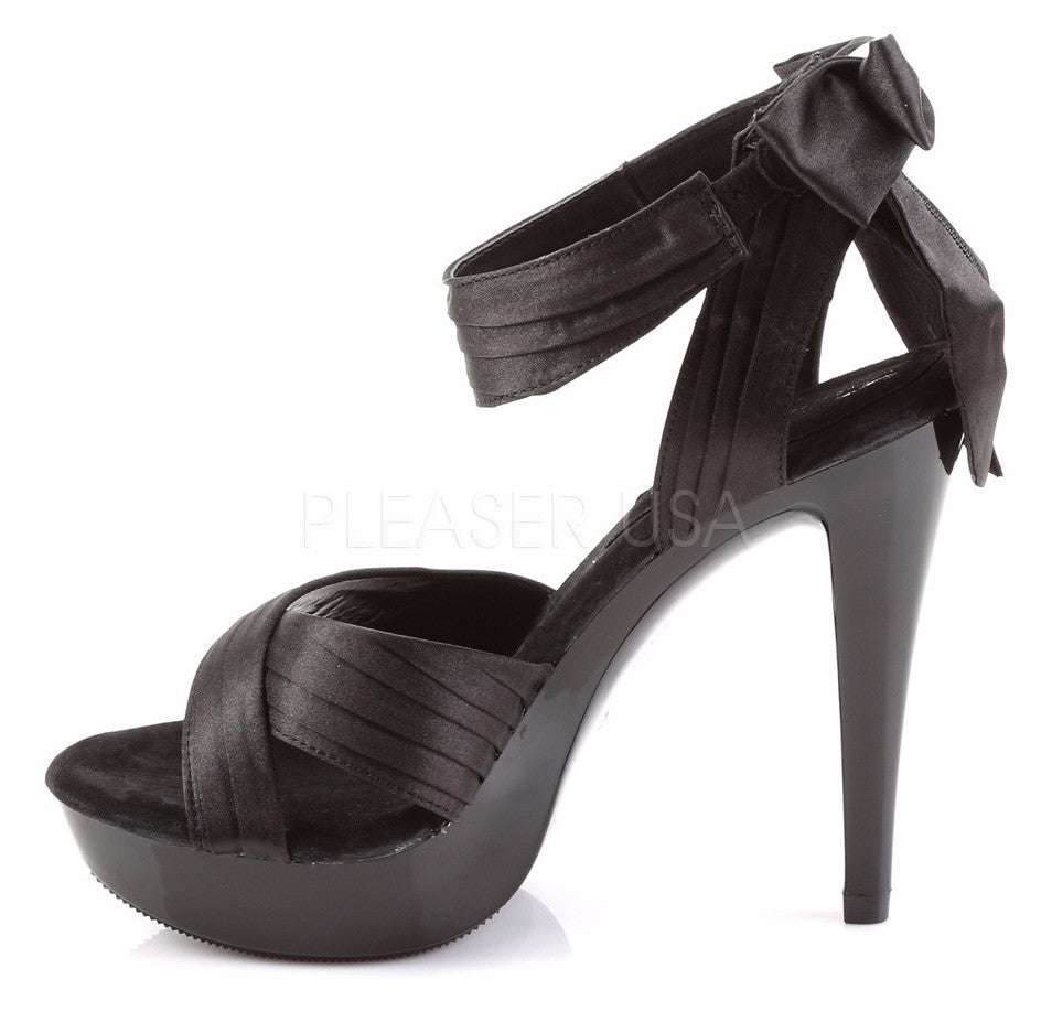 Cocktail 568 Black Satin Pleated Back Bow Ankle Strap Platform Shoe