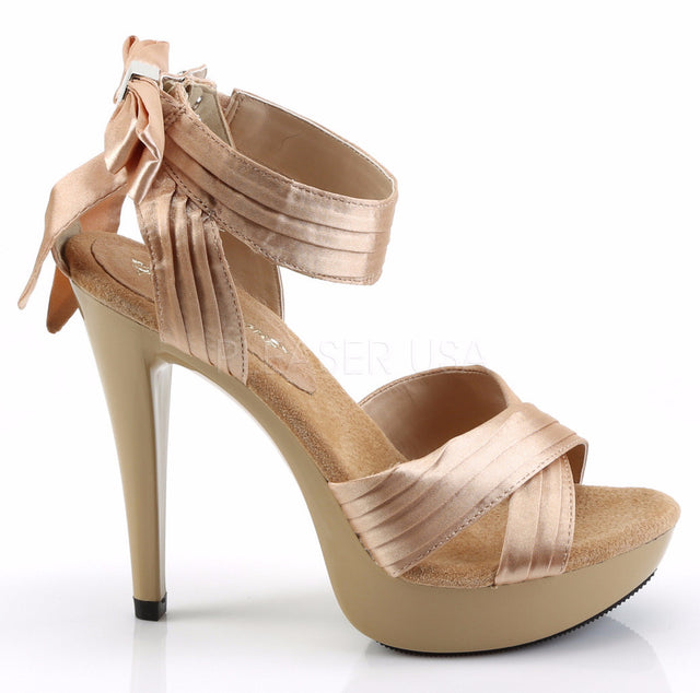 Cocktail 568 Beige Satin Pleated Back Bow Ankle Strap Platform Shoe