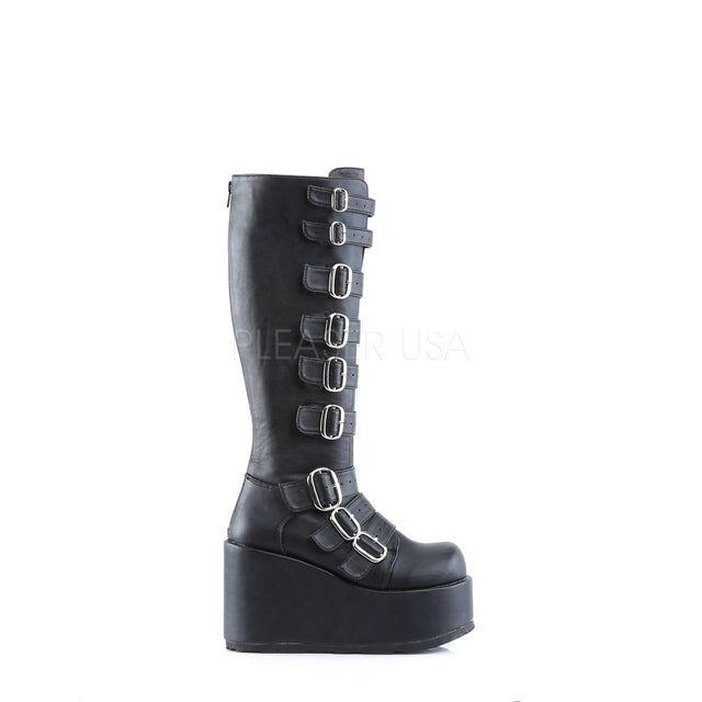 "Concord 108 Multiple Strap Gothic Knee Boot 4.5"" Platform Heel 6-12"