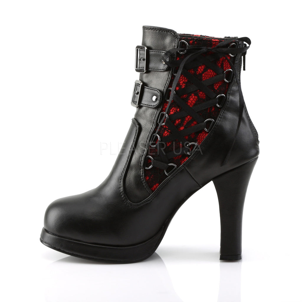 Crypto 51 Black Velvet Red Lace Corset Lace Up Goth Ankle Boot