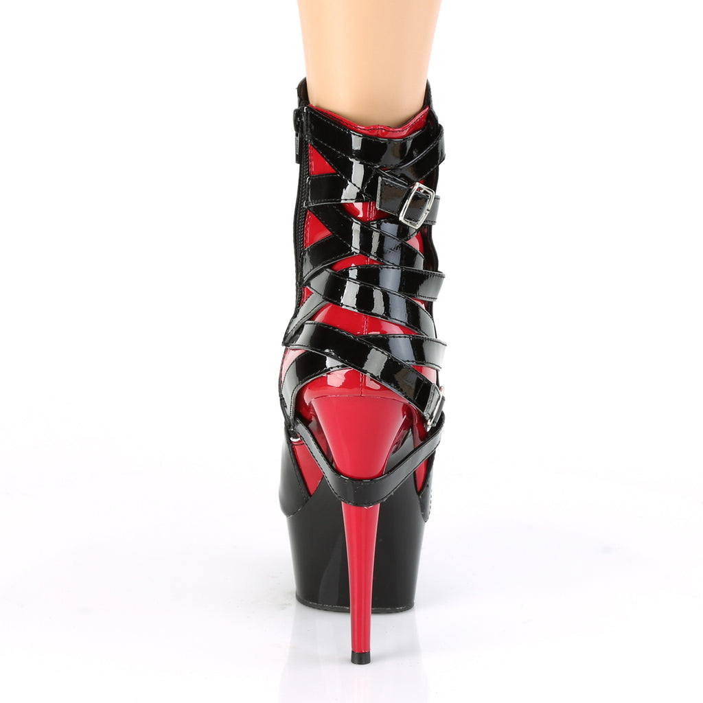"Delight 1012 Black Patent Red Back Strap Ankle Boots - 6"" High Heels"