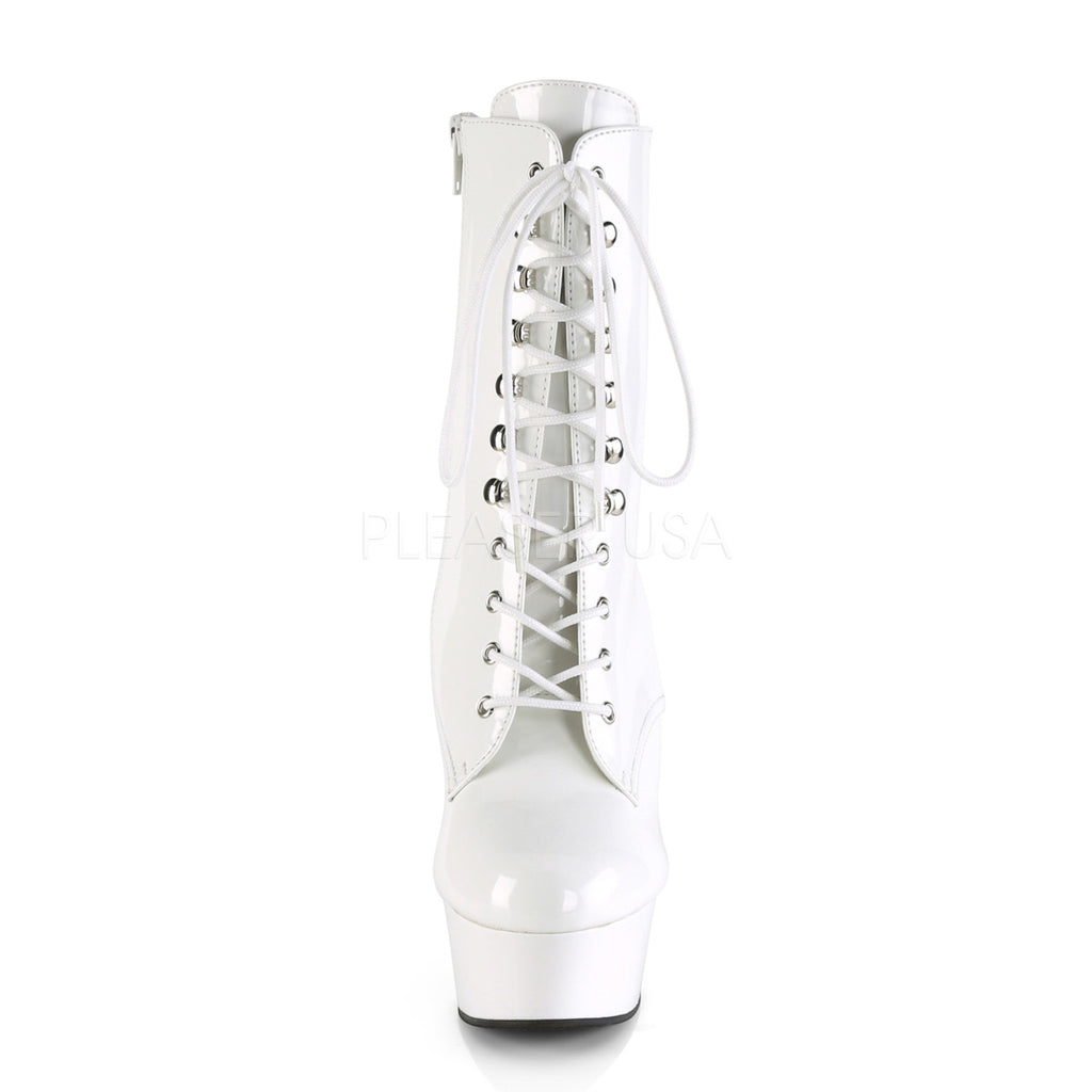"Delight 1020 White Patent Lace Up Platform Ankle Boots - 6"" High Heels"