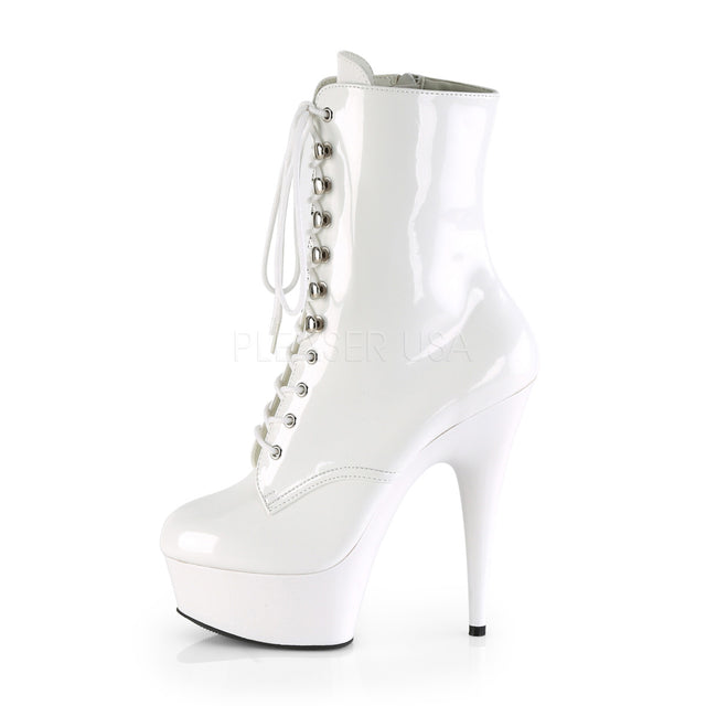 Pleaser ADORE-1018RBG Womens Rainbow Multi Glitter Neon White Lace-Up Ankle Boot