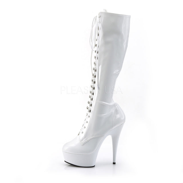 "Delight 2023 White Patent Front Lace Up Knee Boot 6"" Platform Heel"