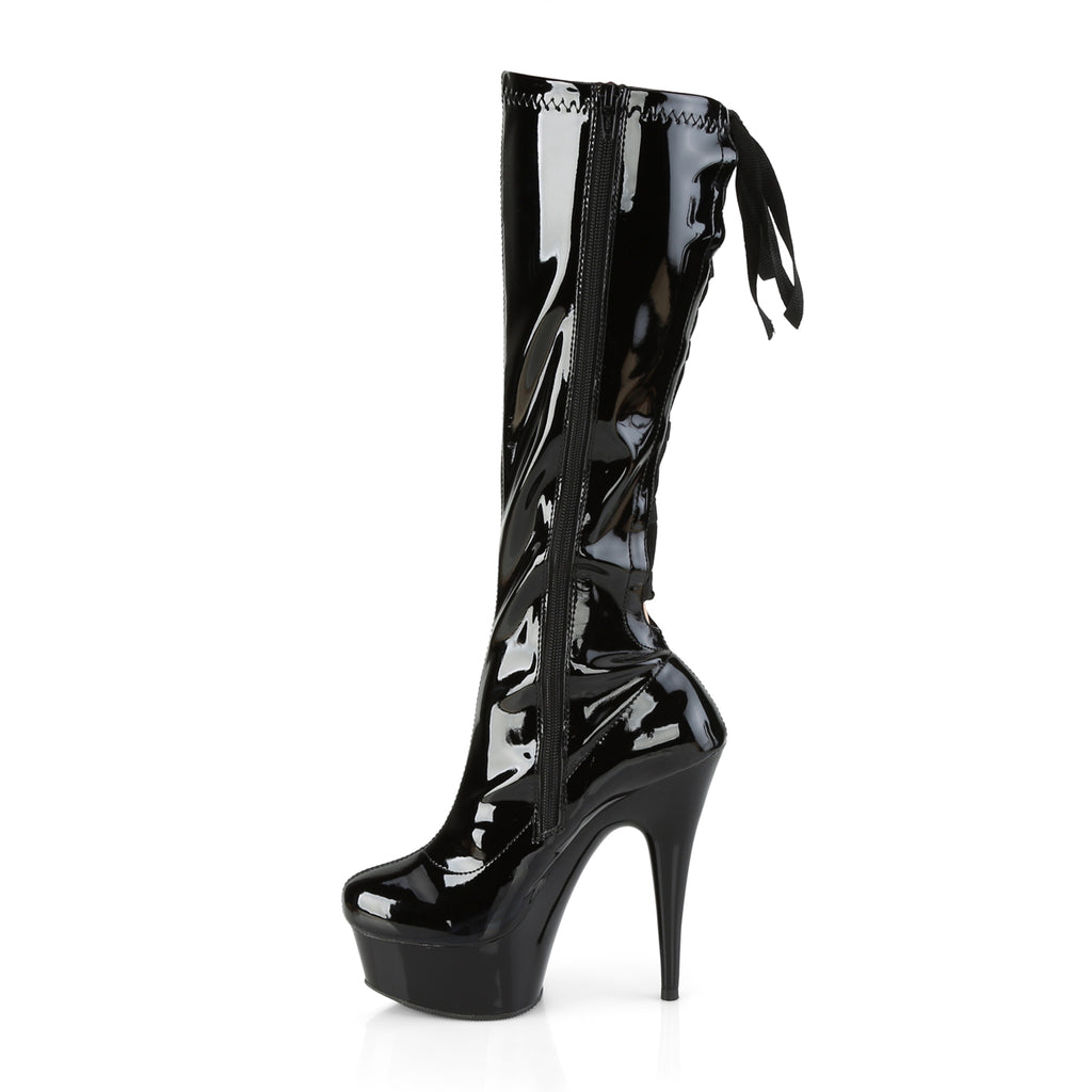 "Delight 2029 Stretch Black Patent Back Lace Up Strap Knee Boots- 6"" High Heels"