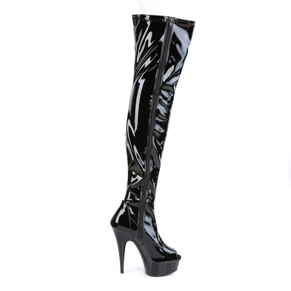"Delight 3011 Black Patent Platform Open Toe Thigh High Boots - 6"" Heel  5-14"