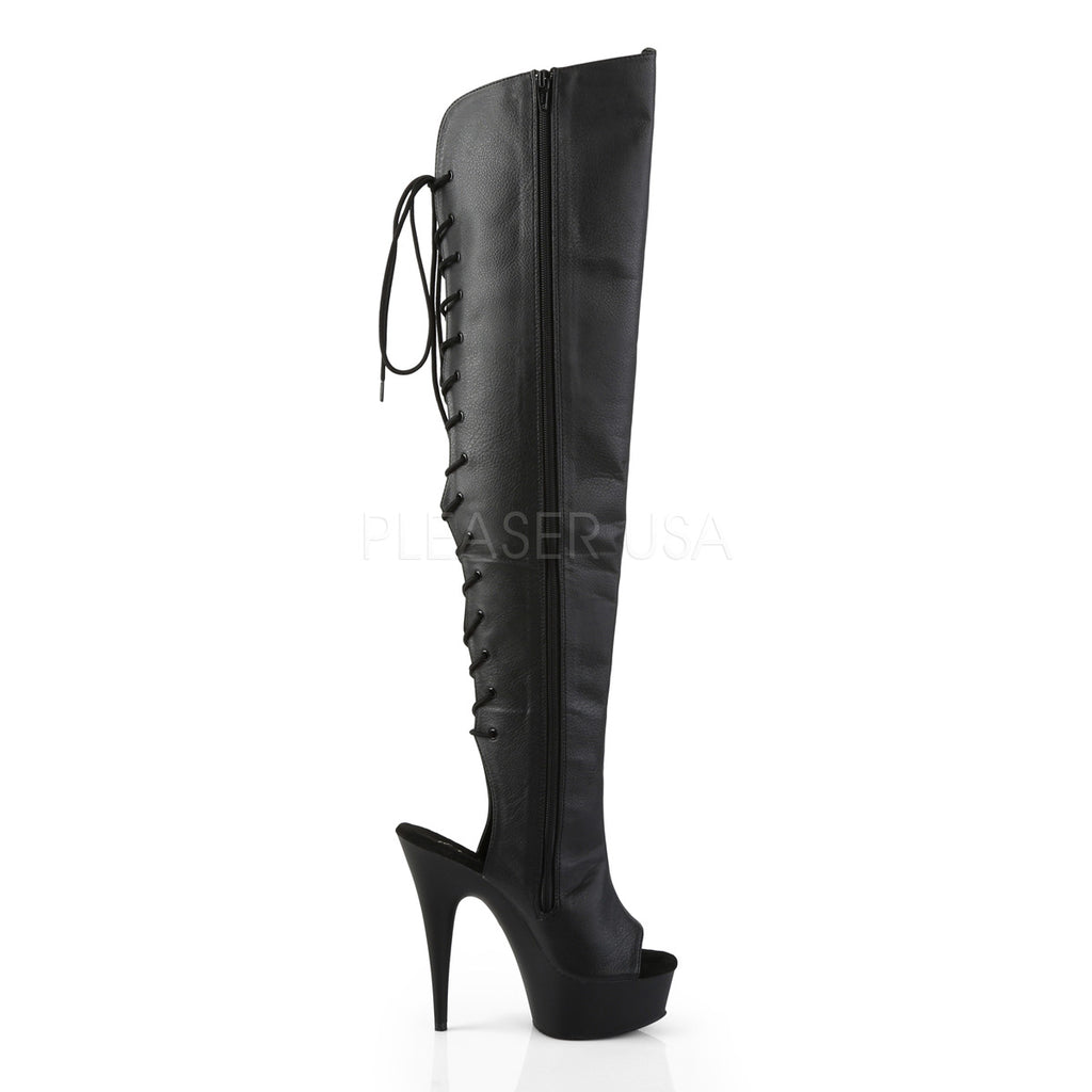"Delight 3019 Black Back Lace Up Platform Thigh Boots - 6"" High Heels"