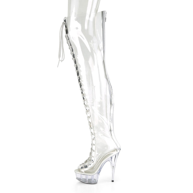 "Delight 3026 Clear Silver Trim Lace Up Thigh High Boots- 6"" Heels"