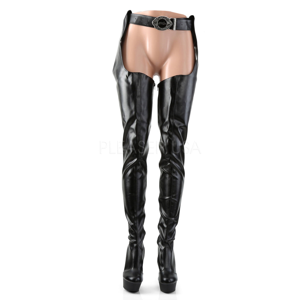 "Delight 5000 Black Stretch Matte Thigh High Chaps Boot - 6"" High Heels"
