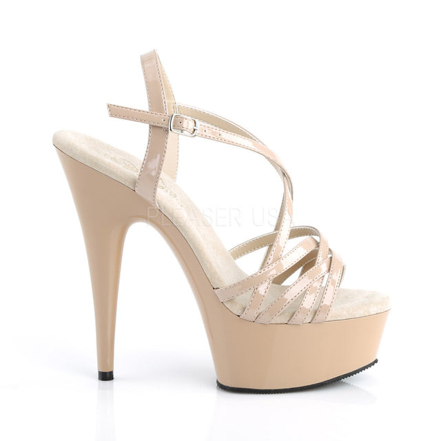 "Delight 613 Cross Strap Nude Sandal - 6"" High Heel Platform Shoe"