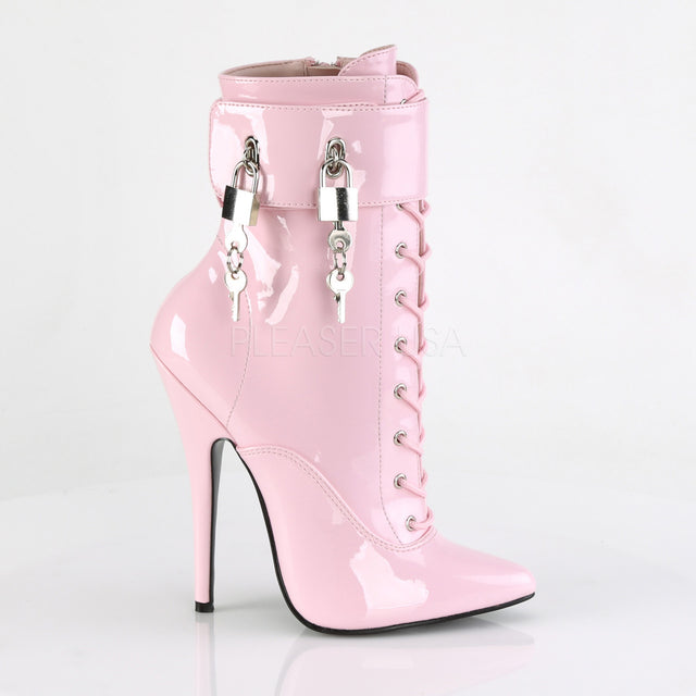 "Domina 1023 Baby Pink 6"" Spike Heel 3 Interchangeable Ankle Strap Boot 6-16"