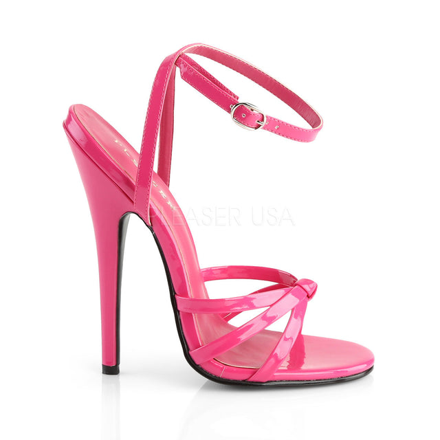 "Domina 108 Wrap Strap 6"" High Heel Shoe Hot Pink Patent"