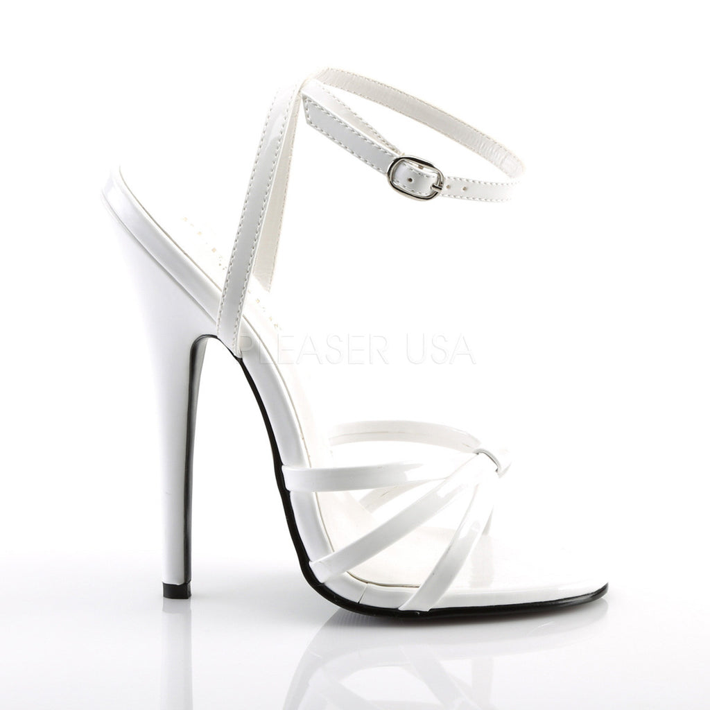 "Domina 108 Wrap Strap 6"" High Heel Shoe White Patent 5 - 16"