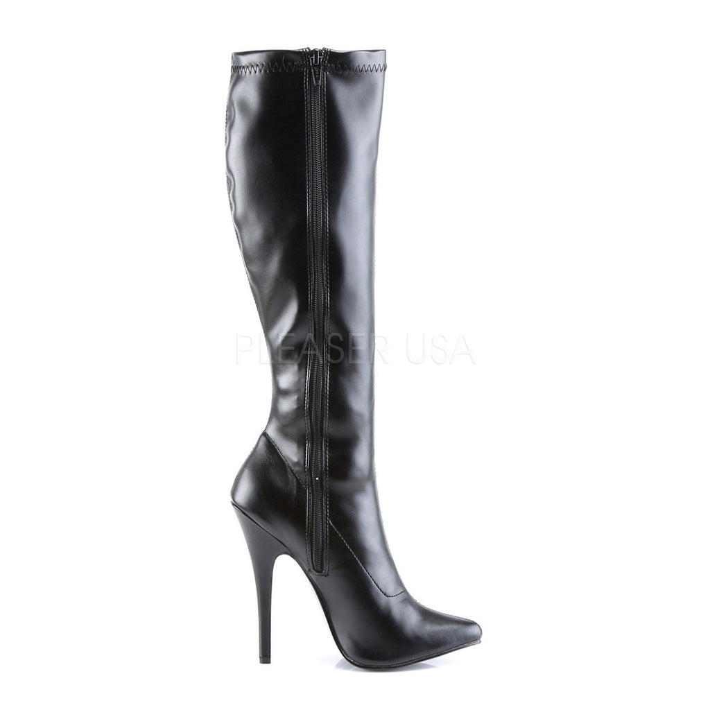 "Domina 2000 Black Leatherette 6"" High Heel Knee Boot"