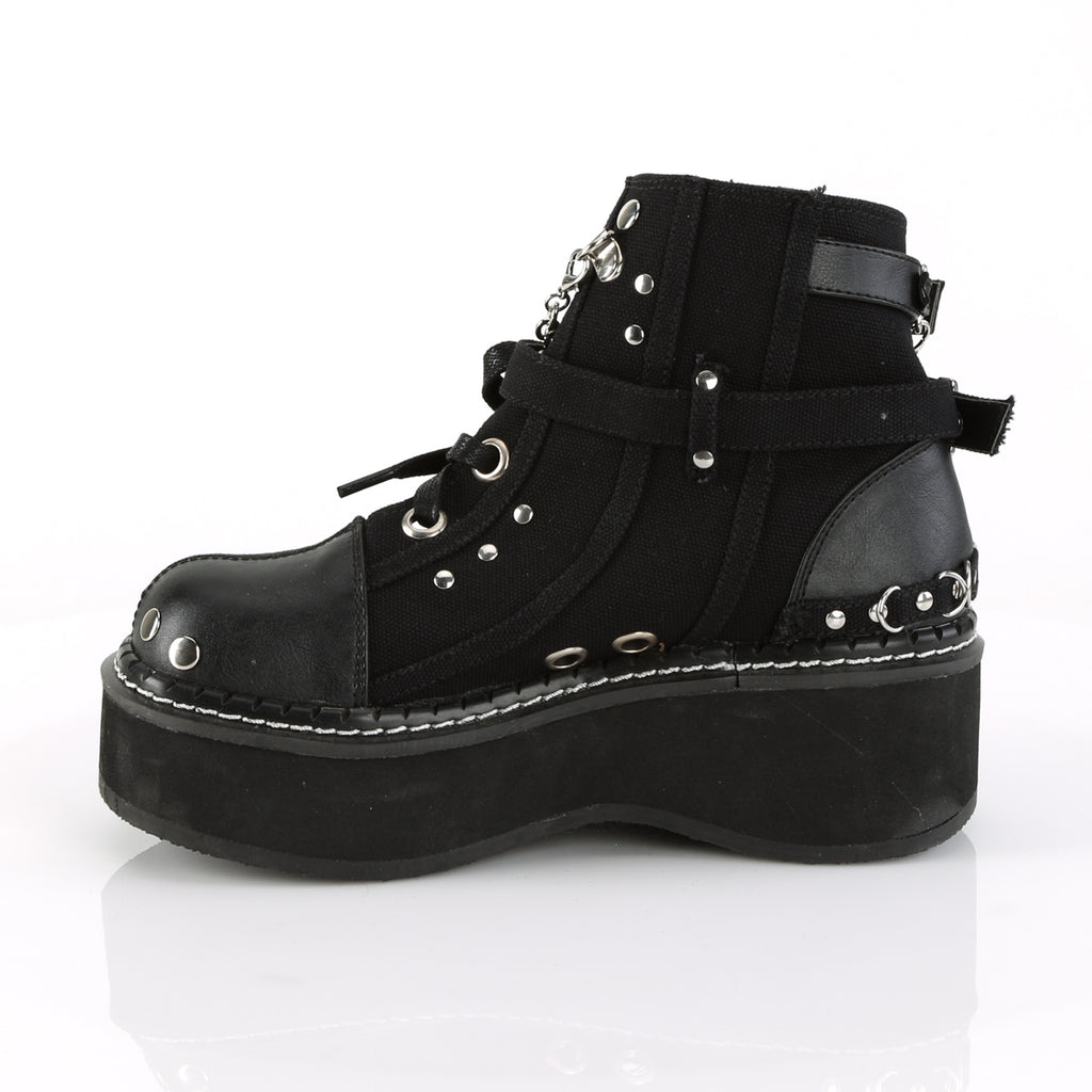 Emily 317 Goth Black Cut Out Ankle Boot Flat-form  6-12