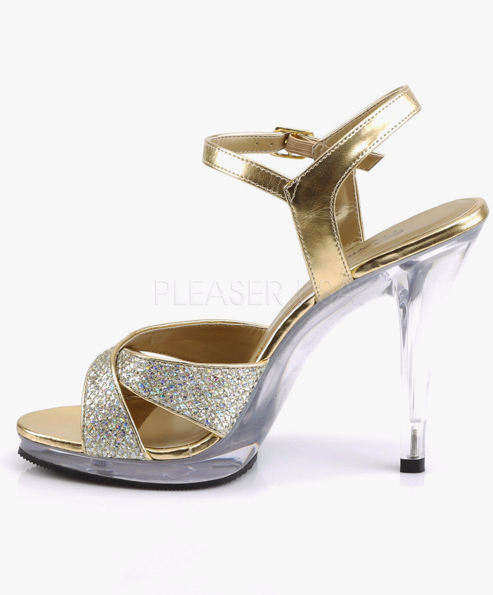 "Flair 419 Glitter Sandal Clear 4.5"" Heel Mini Platform Shoe Gold"