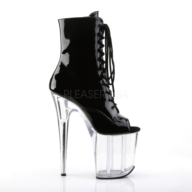 "Flamingo 1021 Black Patent 8"" Heel Clear Platform Ankle Boot"