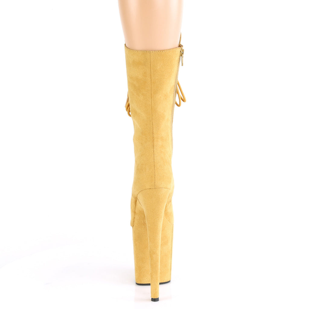 "Flamingo 1050 Faux Suede Mid Calf Ankle Boots 8"" Platform Heels - Mustard Yellow"