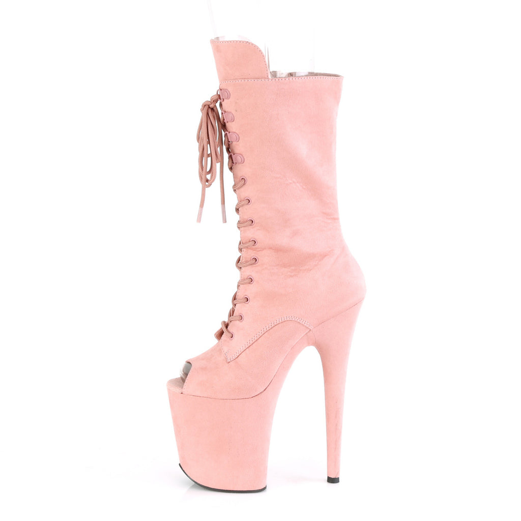 "Flamingo 1051FS Faux Suede Mid Calf Ankle Boots 8"" Platform Heels - Pink"
