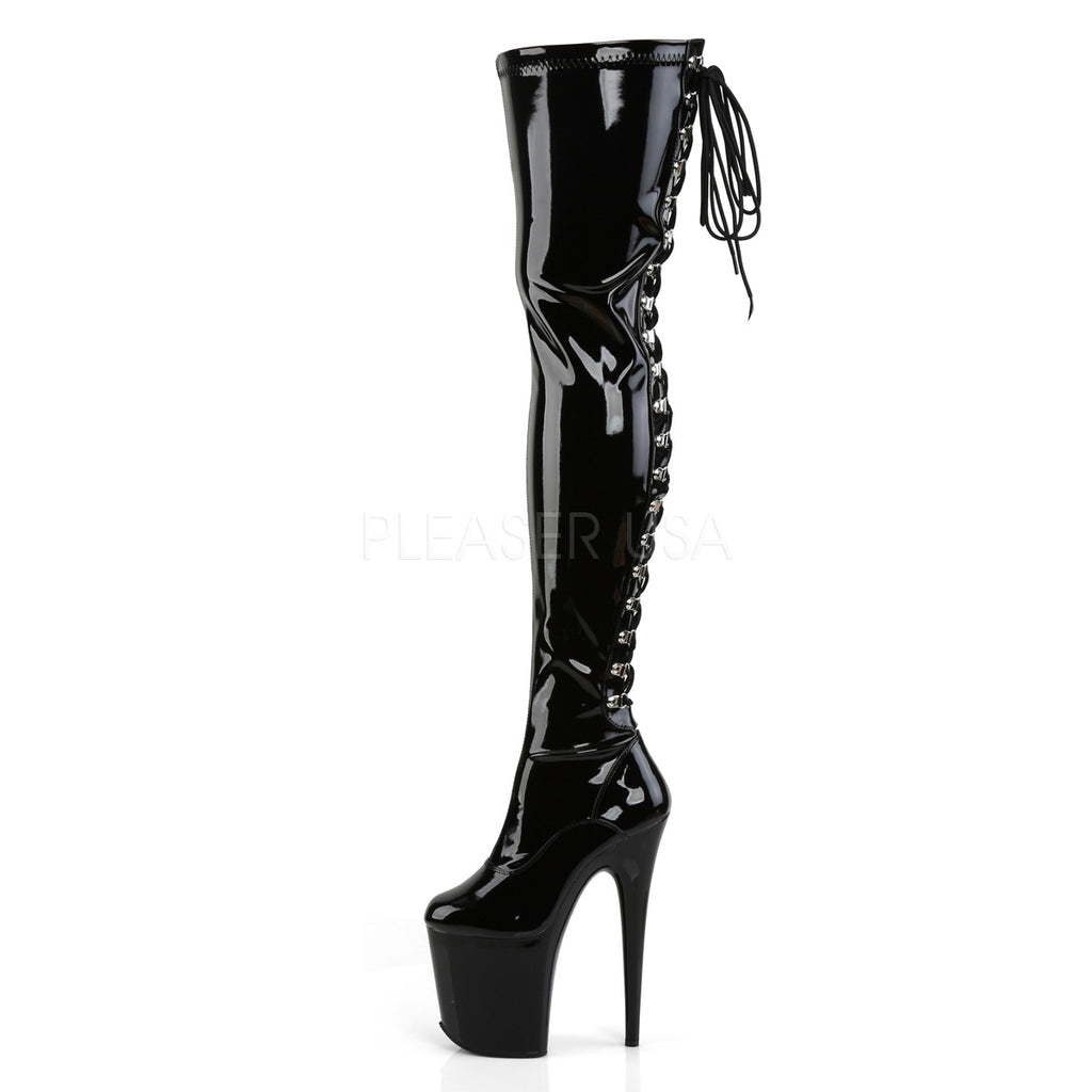 "Flamingo 3063 Black Patent 8"" Heel Back Lace Up OTK Thigh Boot"