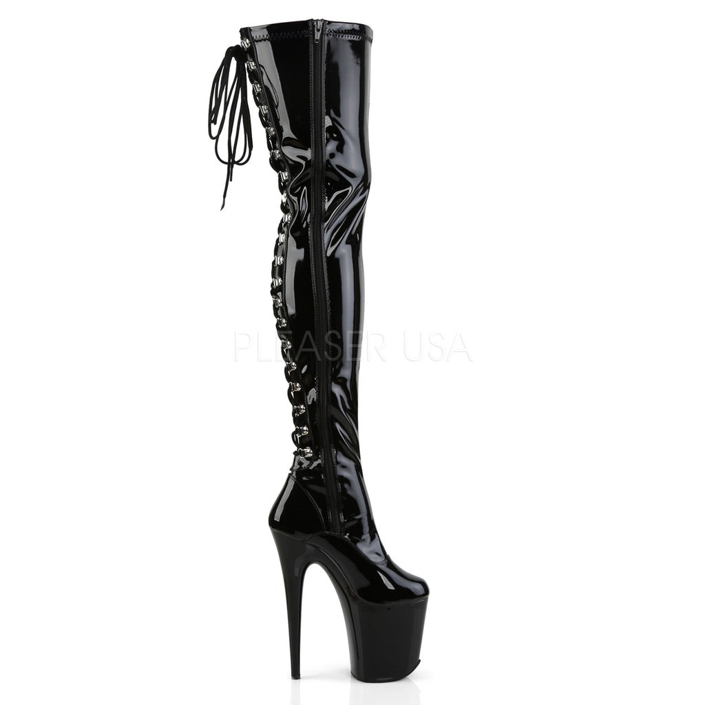 "Flamingo 3063 Black Patent 8"" Heel Back Lace Up OTK Thigh Boot - Totally Wicked Footwear"