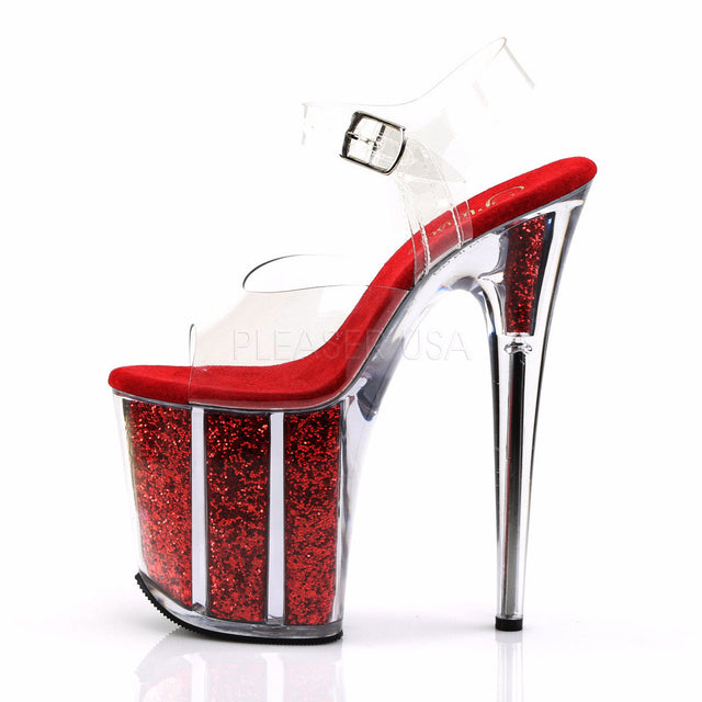 "Flamingo 808G Red Glitter Filled 8"" Heel Clear Strap Platform Shoe - Totally Wicked Footwear"