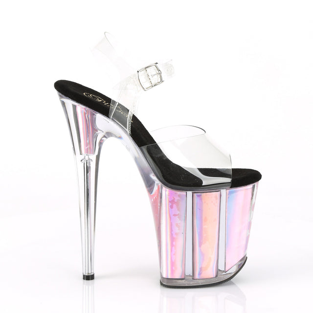 "Flamingo 808HGI Pink Hologram Platform Sandal Shoe  8"" High Heels"