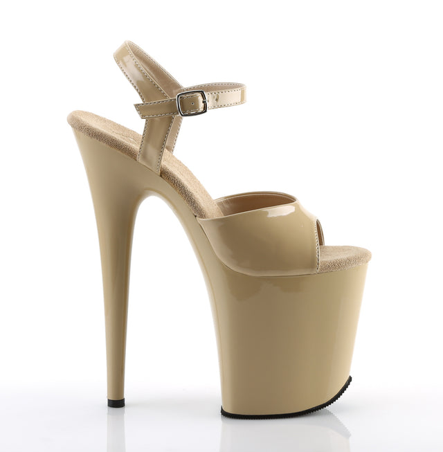 "Flamingo 809 Ankle Strap Cream Patent 8"" Heels Shoe"