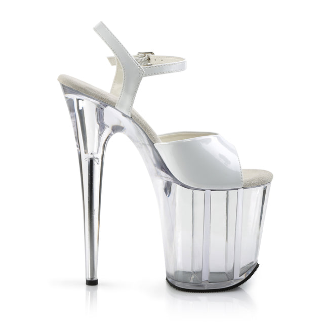 "Flamingo 809 Ankle Strap White Patent Clear Platform 8"" Heels Shoes"